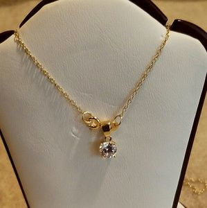 925 Yellow Plated Solitaire CZ Necklace